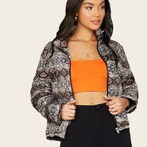 Jackets & Blazers - Snakeskin print semi bubble coat